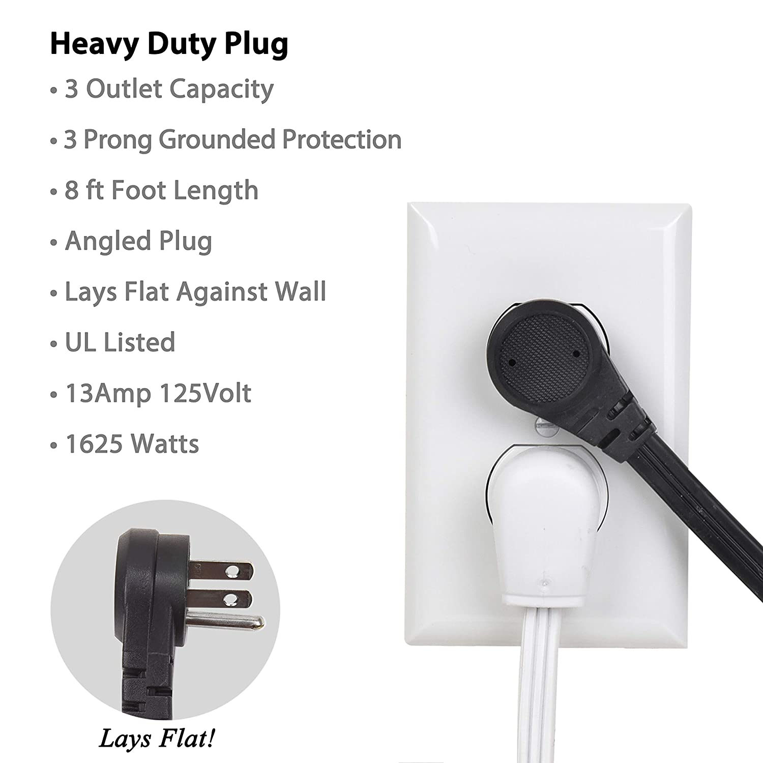Electes 8 Feet Heavy Duty Extension Cord//Wire 16//3 Angled Flat Plug Multi 3 Outlet UL Listed 3 Prong Grounded Black SPT3