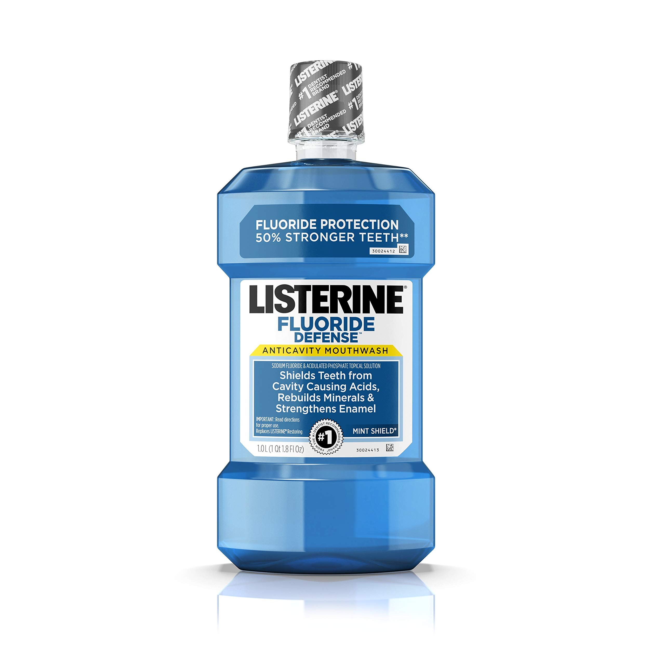 Listerine Fluoride Defense Anticavity Mouthwash, Mouth Rinse For Bad Breath, Cavity Prevention and Enamel Strengthening, Mint Flavored Oral Care, 1 L (Pack of 6)
