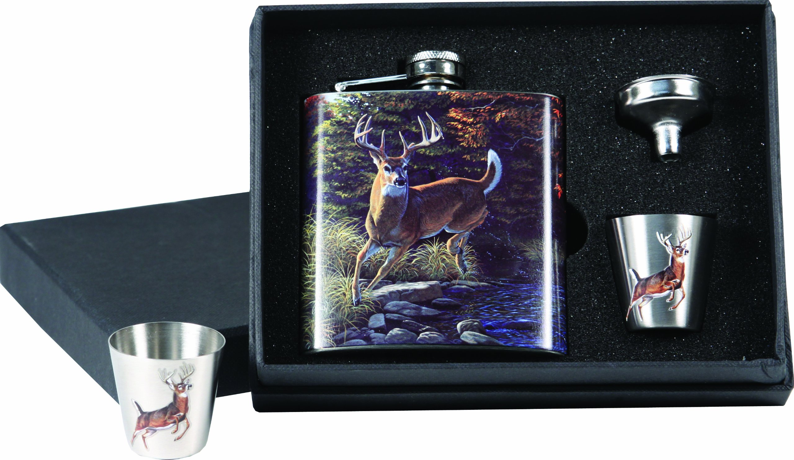 River's Edge Deer Design Stainless Steel Flask with Loading Funnel and Shot Glass