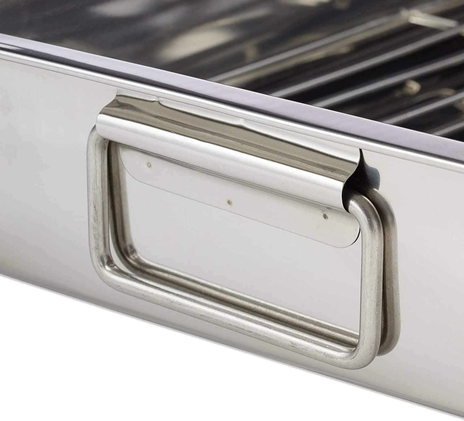 Size S Relaxdays Stainless Steel Roasting Pan Oven Dish Dishwasher-Safe Silver