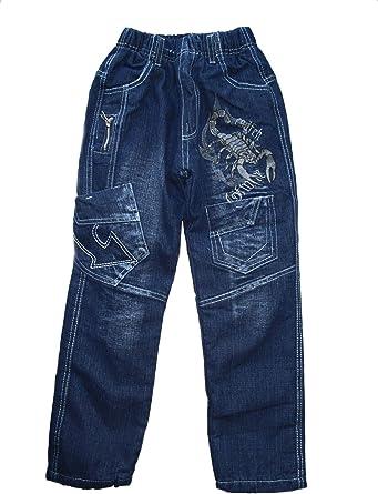 Rb014 158 164 Pantalones Vaqueros Termicos Para Nino Forrados Diseno De Escorpion Color Azul Amazon Es Ropa Y Accesorios