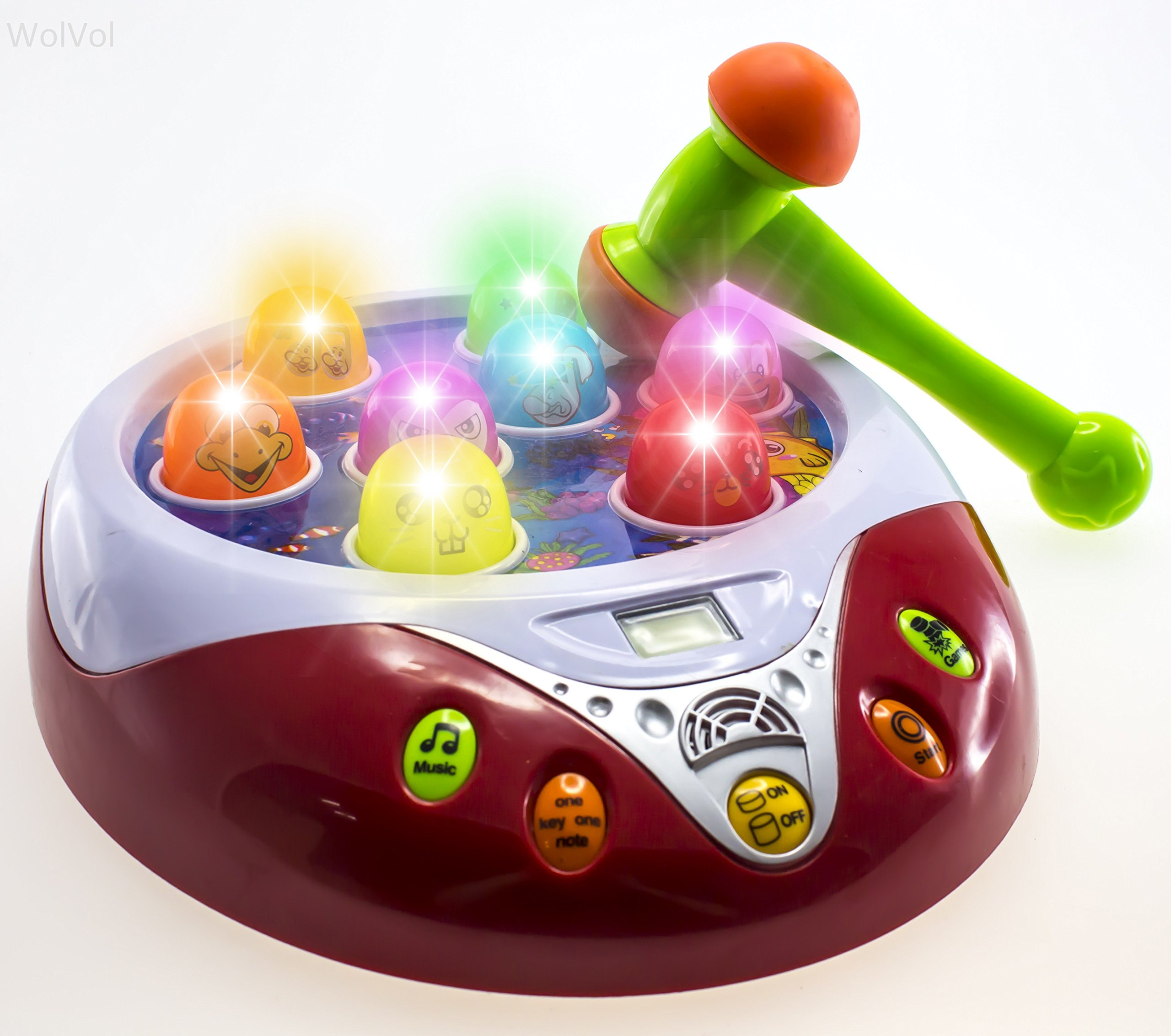 Hammer Game Toy : Wolvol musical fun hammer pounding toy game with lights