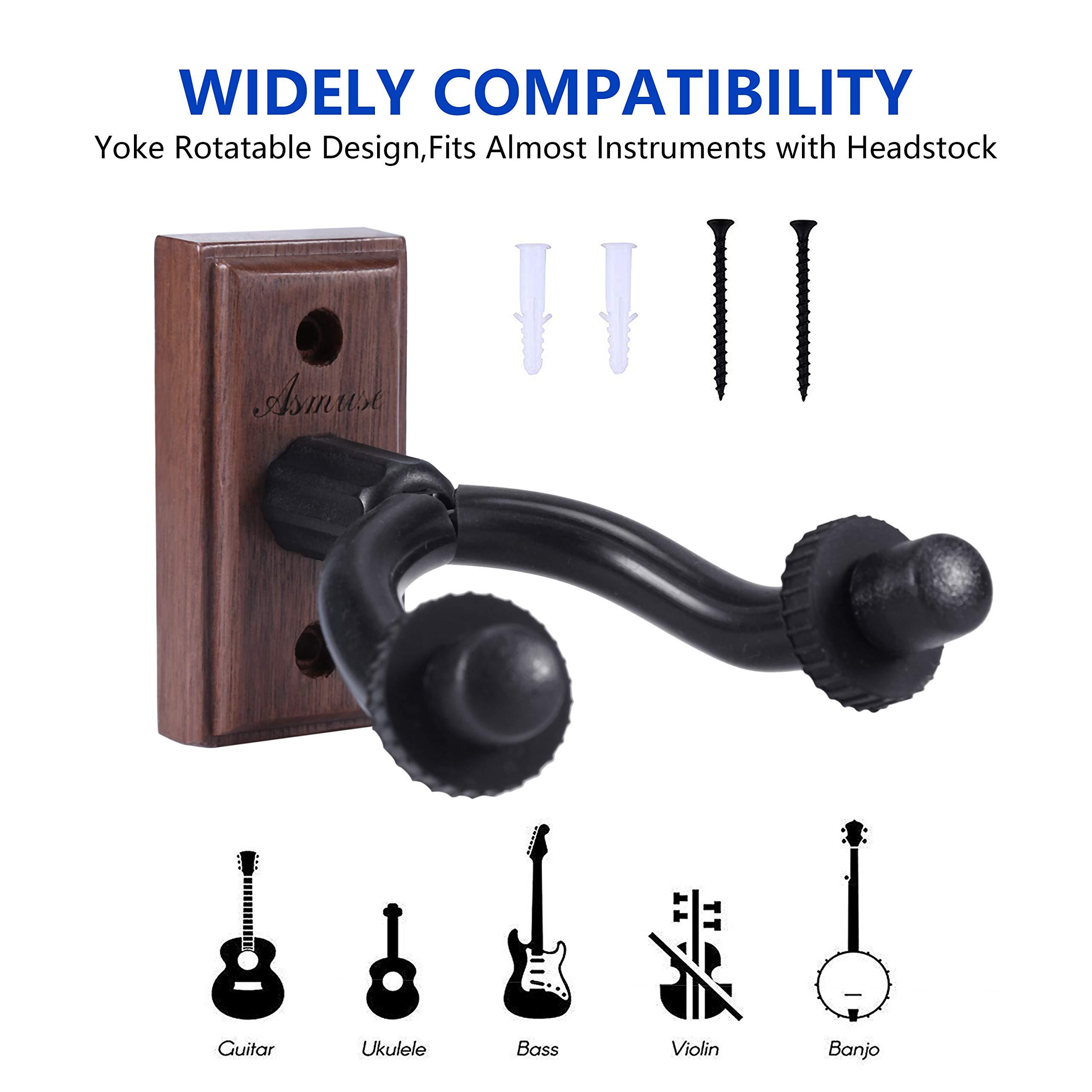 Asmuse™ Supporto Gancio Montaggio a parete Ganci Appendi Chitarra per Chitarra Elettrica/Basso / Elettrico/Ukulele / Violino (Noce Nera, 2 Pacco)
