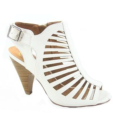 afa75ec4ed SODA Shaky-s Women's Sexy Strappy Peep Toe Slingback Buckle Chunky Heel  Sandal (5.5