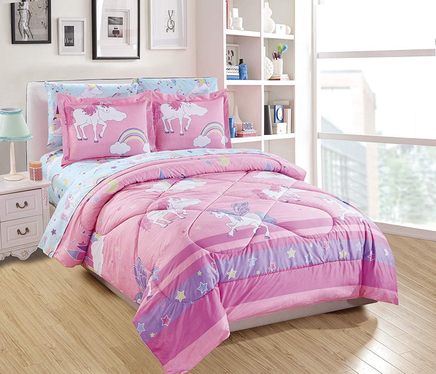 Elegant Homes Multicolor Purple Pink White Blue Unicorn Rainbow Castle Design 7 Piece Comforter Bedding Set for Girls/Kids Bed in a Bag with Sheet Set # Unicorn Blue (Queen Size)
