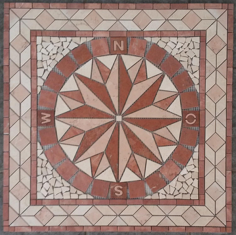 Rosace Marbre Mosaique en carrelage 67x67 cm x 8 mm rose des vents Rosso Verona 052