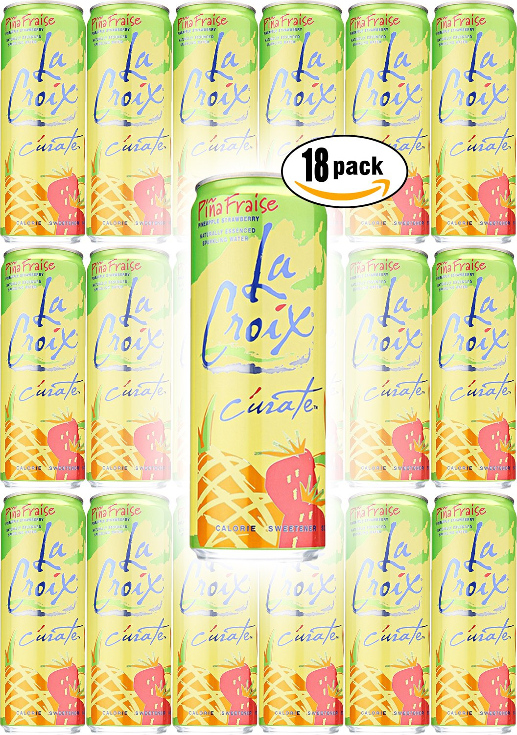 La Croix Pina Fraise, Pineapple Strawberry Flavored Naturally Essenced Sparkling Water, 12oz Tall Can (Pack of 18, Total of 216 Oz) by La Croix