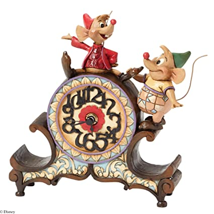 """Disney Traditions by Jim Shore """"Cinderella"""" Jaq and Gus Clock Stone Resin Figurine,"""