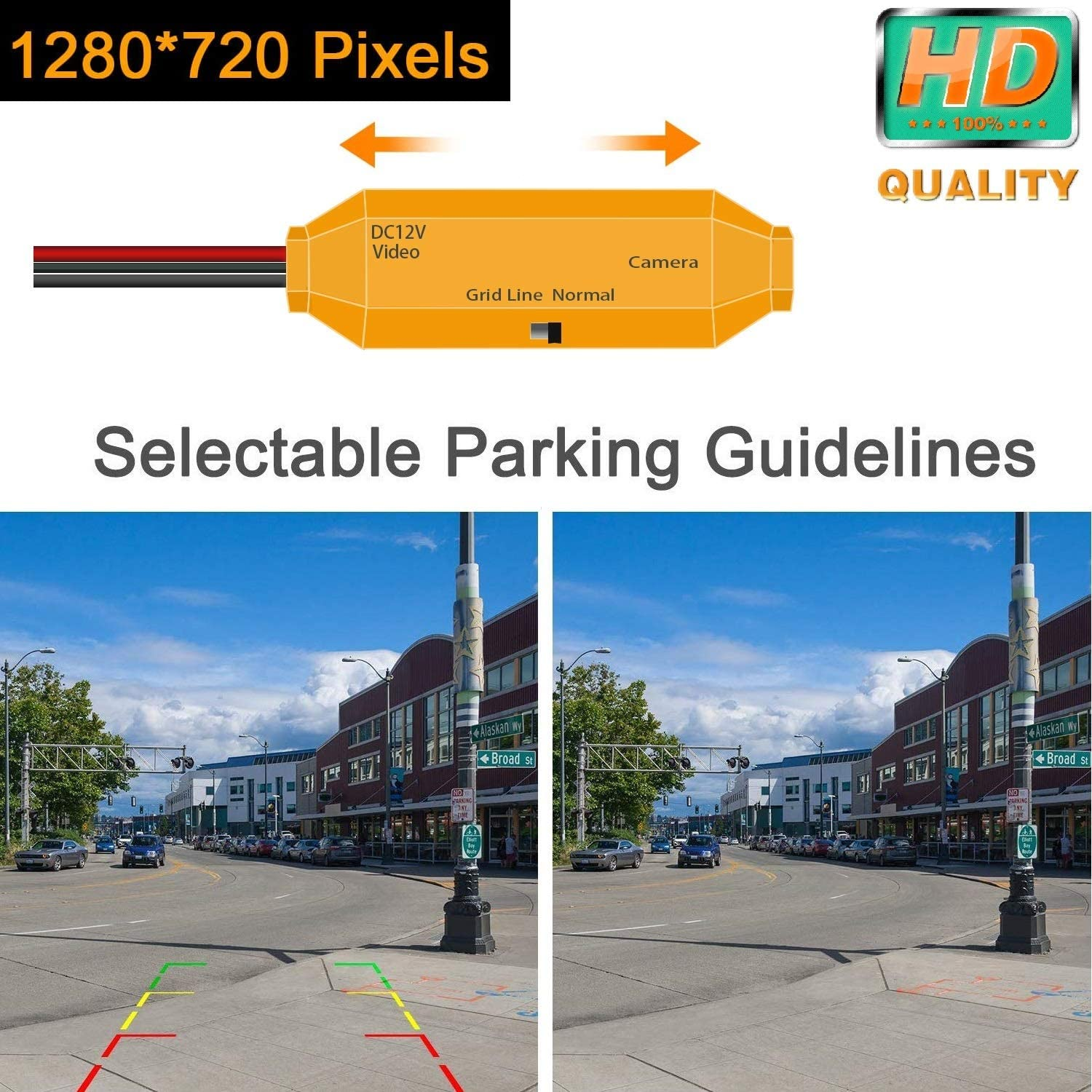 HD 1280x720p Golden Camera for Mercedes Benz M ML R GL Class MB W164 W251 X164,3nd Generation Camera Rear View Reversing Backup Camera Night Vision Waterproof Backing Camera License Plate
