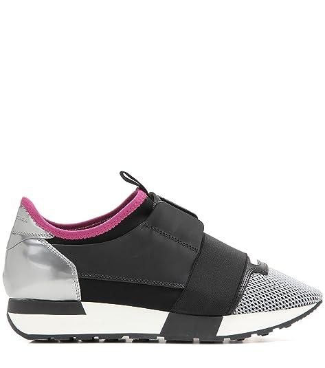 Balenciaga Mujer 433294W0YXF1007 Gris/Negro Cuero Zapatillas: Amazon.es: Zapatos y complementos