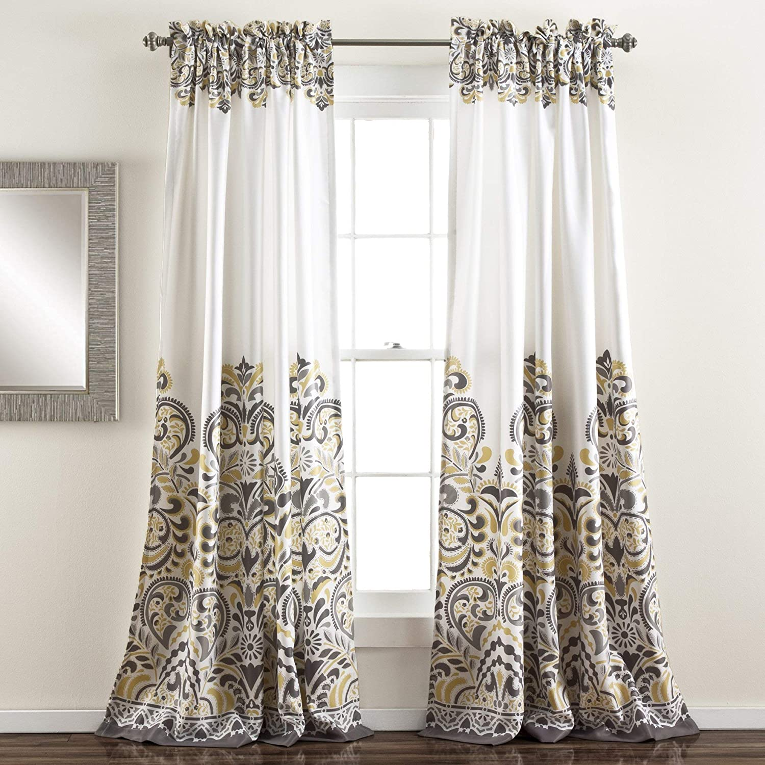 "Lush Decor Clara Curtains Paisley Damask Print Bohemian Style Room Darkening Window Panel Set for Living, Dining, Bedroom (Pair) 84"" x 52"" Gray and Yellow"