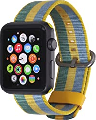 StilGut cinturino in nylon per Apple Watch 42 mm, a righe giallo