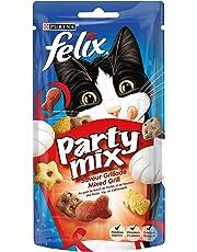 Felix Party Mix Saveur Grillade : Bœuf, Poulet, Saumon - 60 g - Friandises pour Chat - Lot de 8