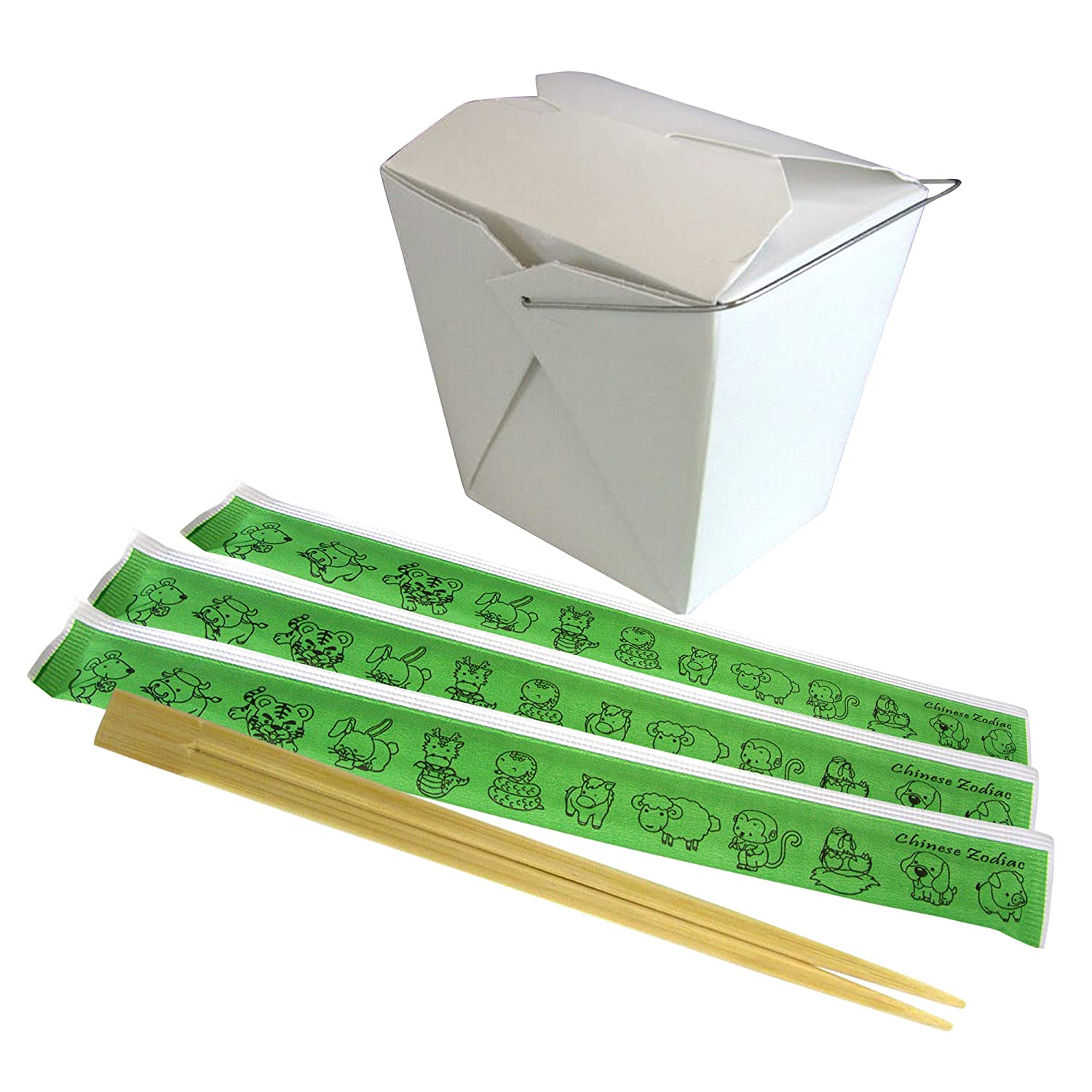 [50 Each] Chinese Take Out Box 16 oz and Wooden Chopsticks with Animal Zodiac Wrapper 9 Inches - Plain White Grease Resistant Food Paper Container and Premium Disposable Bamboo Sticks for Asian Food