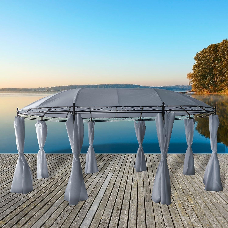 Cenador (3, 5 x 5, 3 m Ovalado de Metal pulverizado con Techo Impermeable. Incluye Laterales: Amazon.es: Jardín