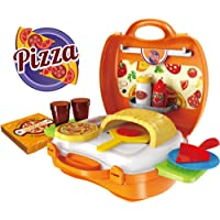 Popsugar Pizza Play Set with Brick Oven Pretend Play and Accessories for Kids,