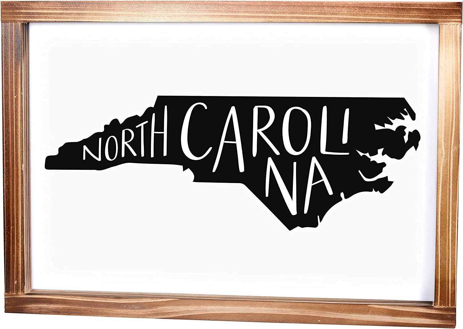 North Carolina Sign - Rustic Farmhouse Decor For The Home - North Carolina State Sign, Modern Farmhouse State Gift, North Carolina Wall Decor, State Souvenir With Solid Wood Frame 11x16 Inch