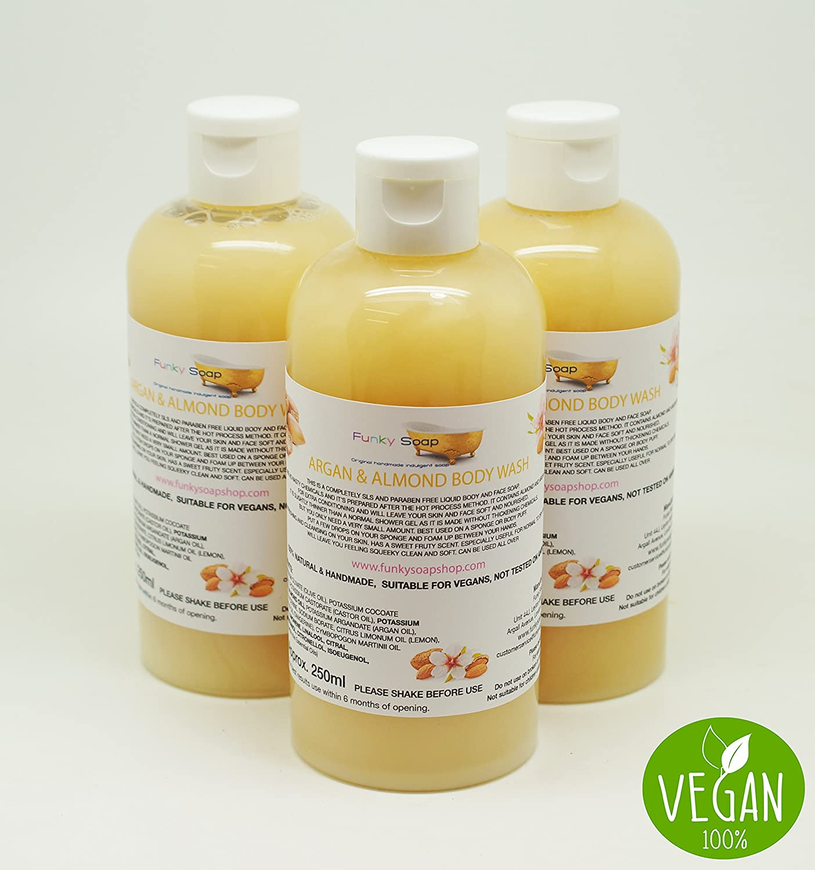 1 Flasche Flüßig Argan & Mandel Öl Feuchtigkeit Duschgel 100% Natur SLS Frei 250ml Funky Soap