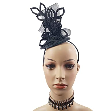 e442c4b7e31c7 Embroidery Butterfly Ribbon Curl Exotic Sinamay Fascinator Headband Hats  Derby Racing Hat (Black)