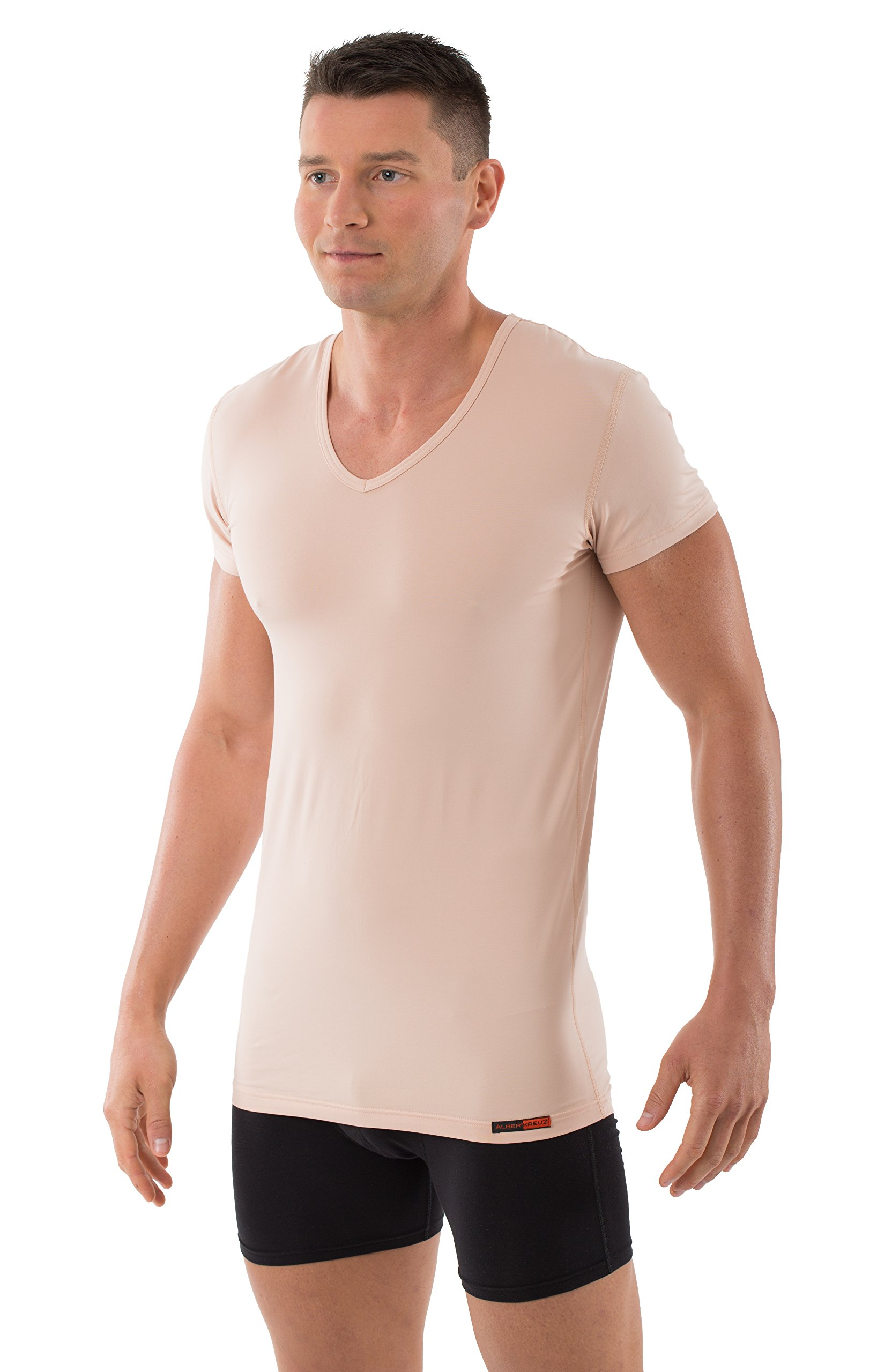 ALBERT KREUZ men's invisible V-neck business undershirt with short sleeves stretch-cotton nude beige XL