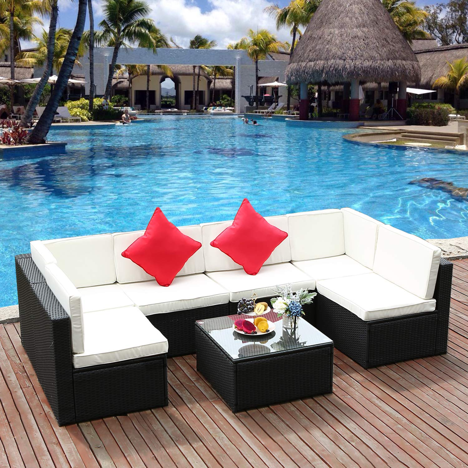 M W 7 Pieces Patio Sofa Set, PE Wicker Rattan Outdoor Sectional Furniture, 6 Cushioned Chairs and 1 Glass Coffee Table for Lawn Garden Backyard Pool