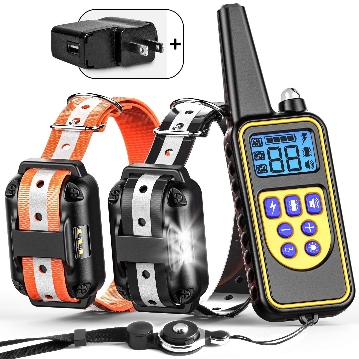 BuddiPets Dog Training Collar, 2018 Upgraded Reflect Light for Safety Waterproof Shock Collar for Dogs 2600ft Remote LED Light Tone Vibration Shock Dog Shock Collar for Medium Large Breed, Adapter