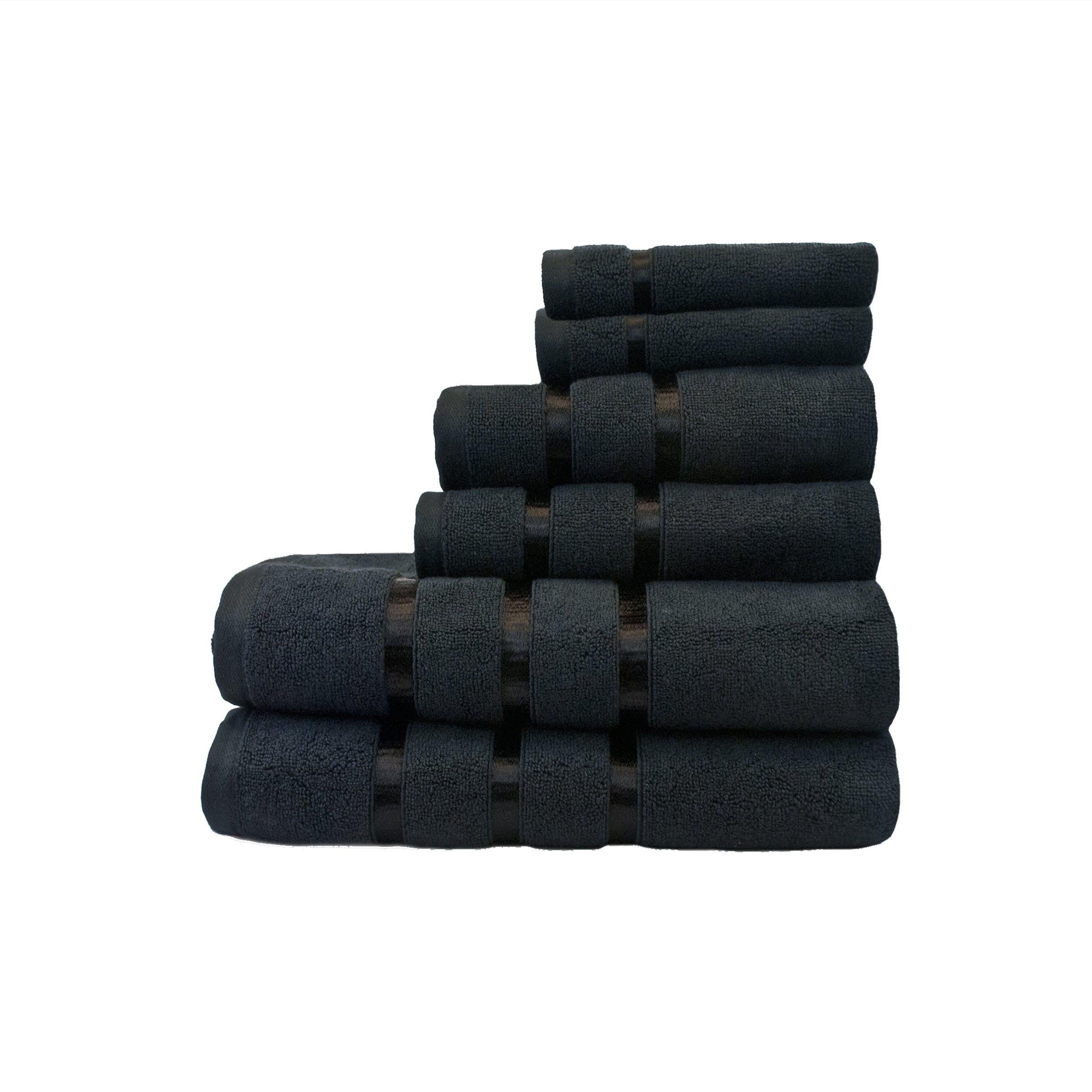 Ausin Horn Classics AHC00178-BLK Austin Horn Classics Hotel Collection 6Piece Bath Towel Set Black