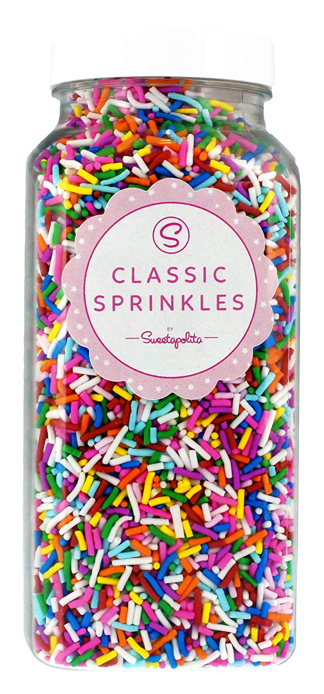 Sweetapolita Crunchy Rainbow Sprinkles - 16 Ounces || Gluten-Free, Vegan, Vegetarian, Kosher