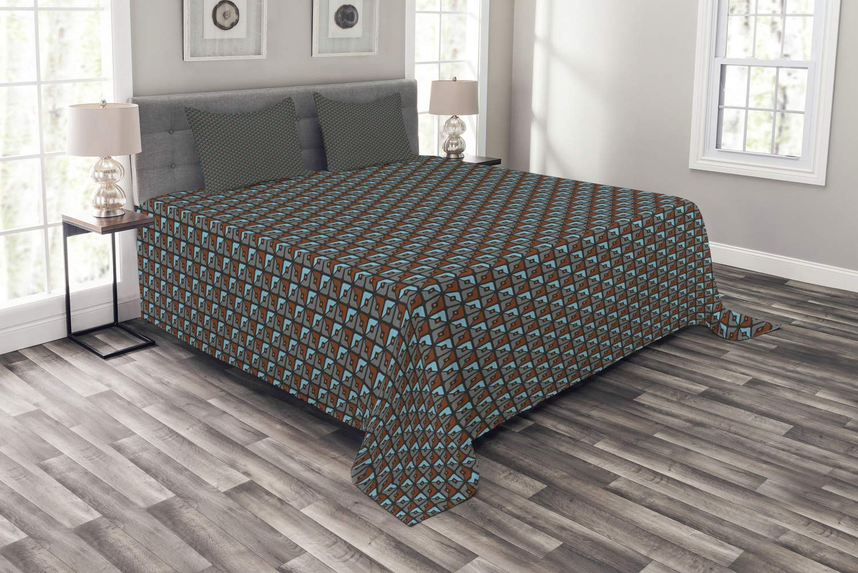 Ambesonne 幾何学模様 ベッドスプレッド 抽象的形状 正方形 ドット柄 現代ミニマリストアート 装飾キルトベッドカバーセット 枕カバー付き マルチカラー キング bed_74413_king B07NCW6M66 マルチ1 キング