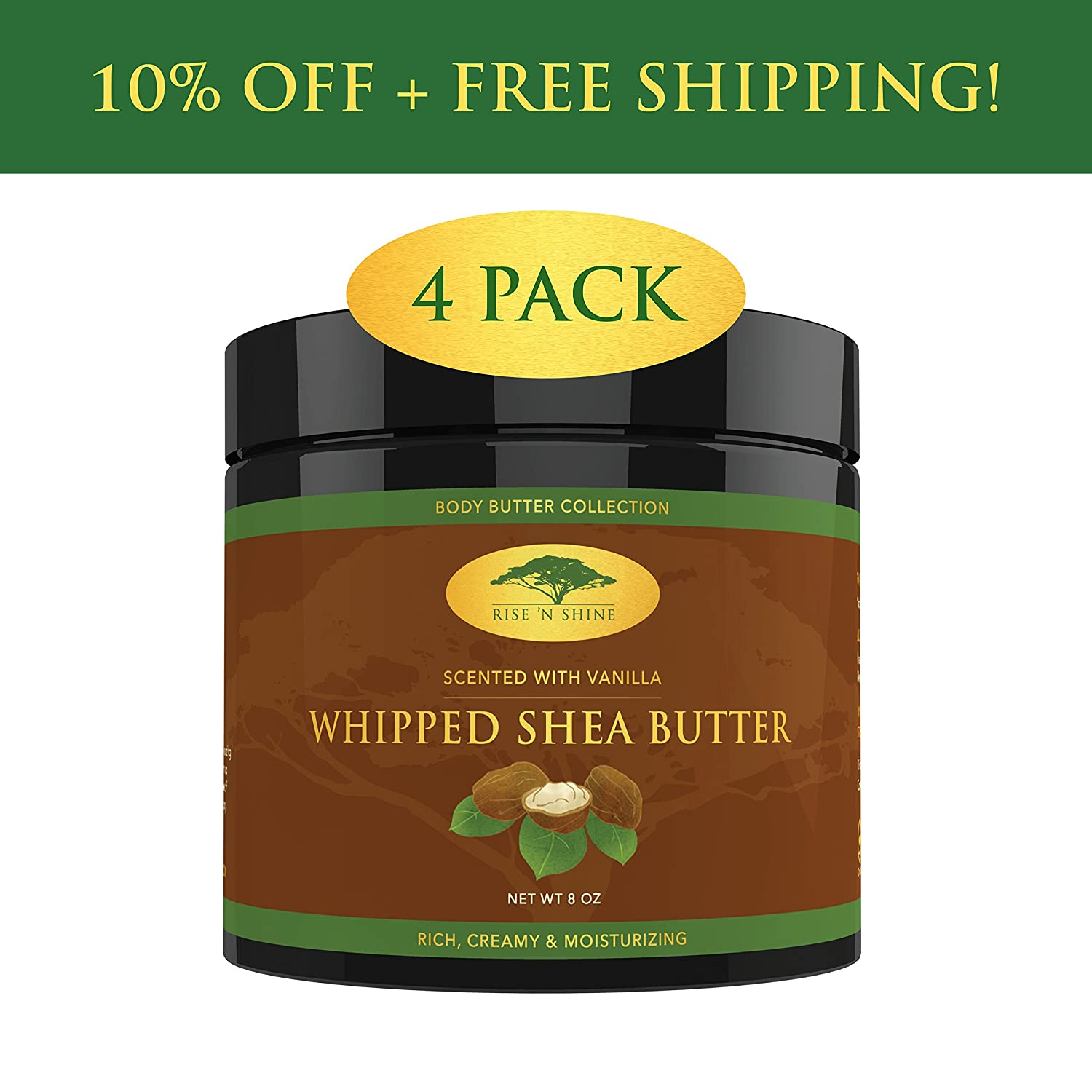 (8 oz) Whipped African Shea Butter Cream - Pure 100% All Natural Organic Moisture for Soft Skin and Natural Hair - Body Butter Improves Blemishes Stretch Marks Scars Wrinkles Eczema & Dermatitis Rise 'N Shine Online