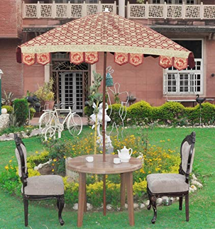 Lalhaveli Silk Fabric Outdoor Garden Umbrella Big Party Decoration Items 64 X 60 Inches