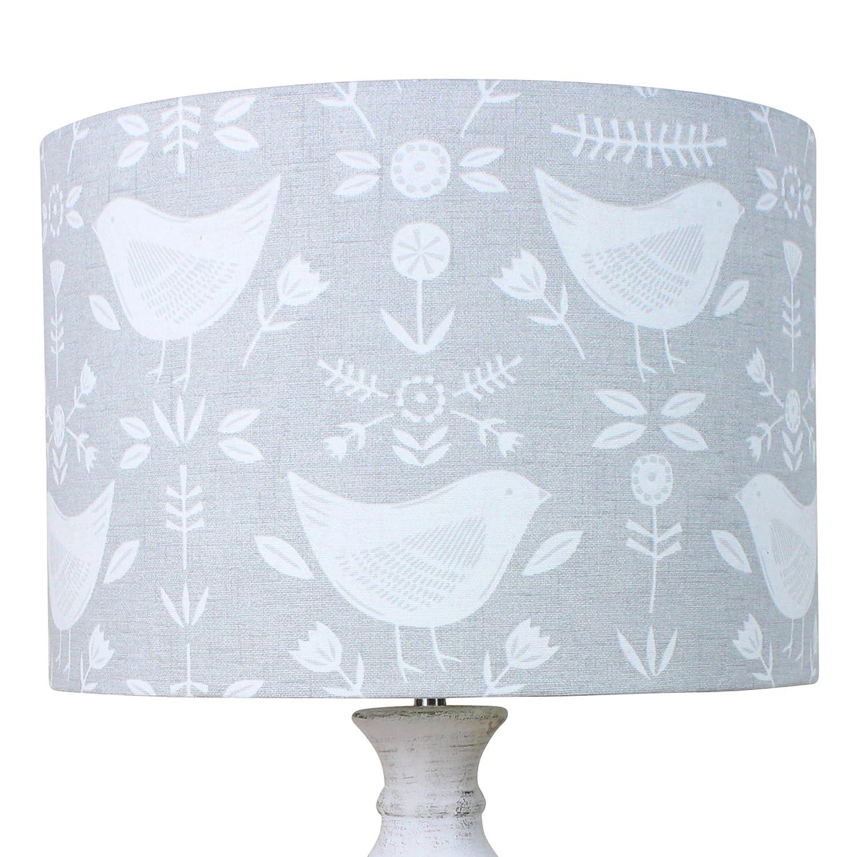 Fryetts Ochre Yellow Grey Dalarna Floral Bird Scandi Drum Lampshade Lightshade 30 cm Diameter x 21 cm High Table//Standard Lamp