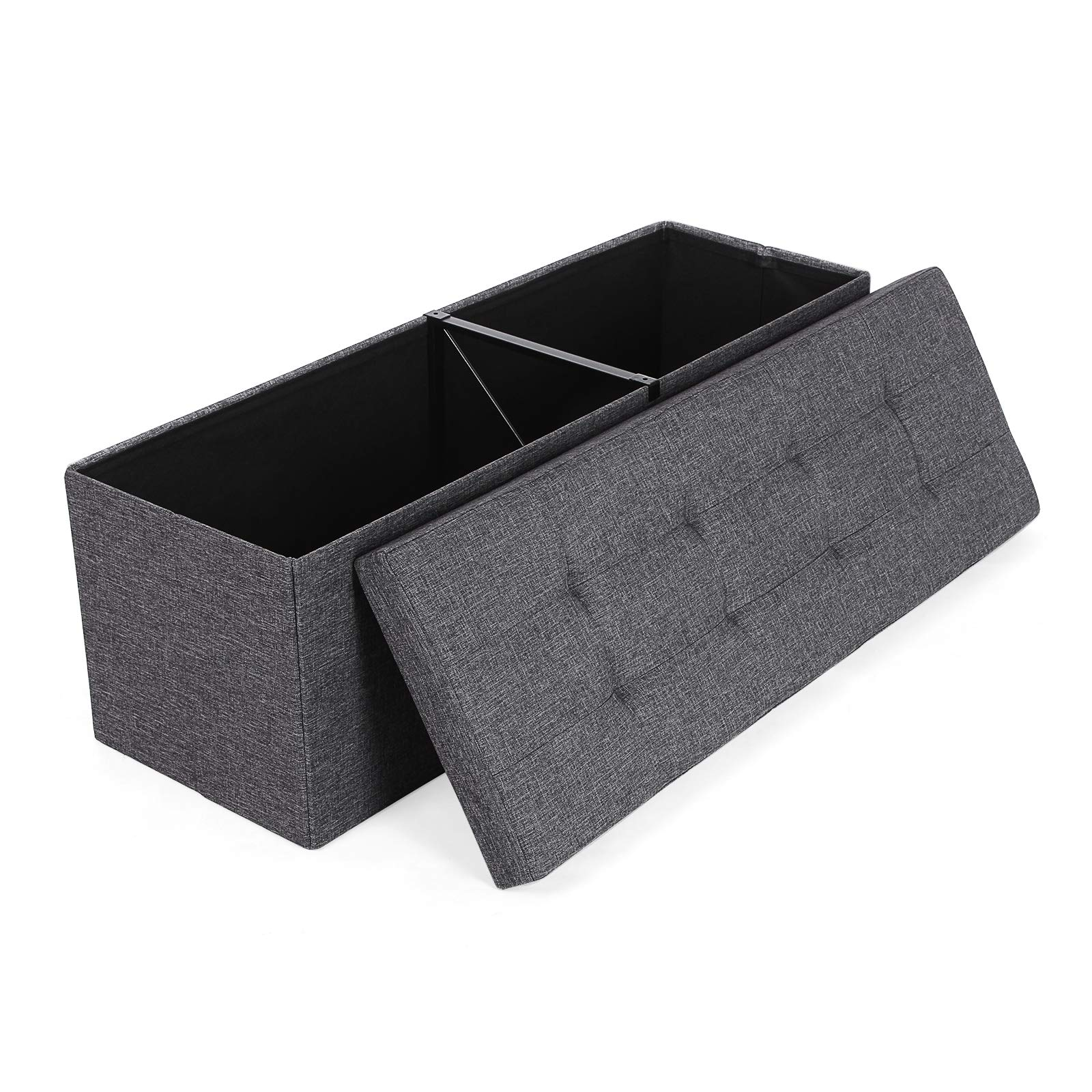 SONGMICS Folding Storage Ottoman Bench Storage Chest Foot Rest Stool with Metal Support, Holds up to 660lb, Dark Gray ULSF77K by SONGMICS