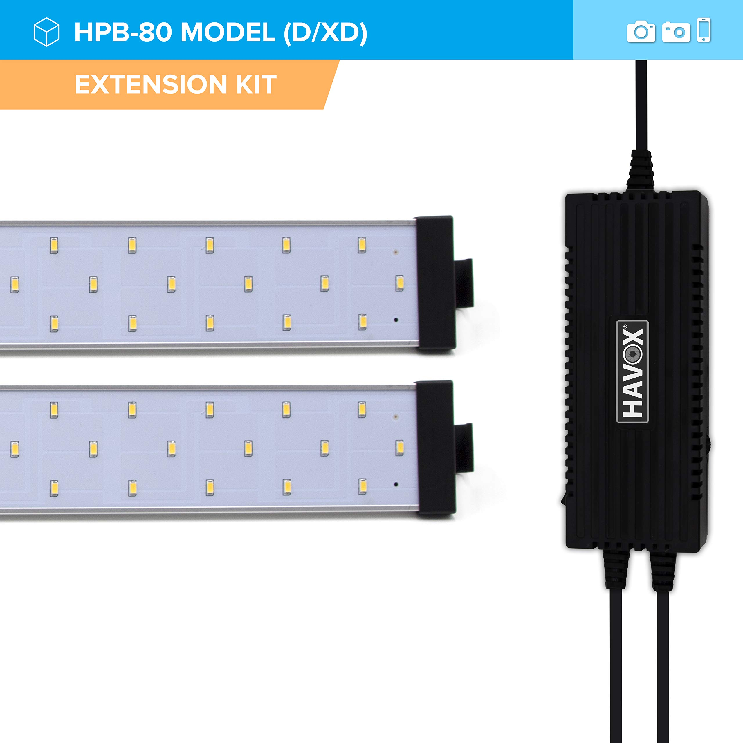 HAVOX - Extension kit for Photo Studio HPB-80D/XD - 2 LED Ramps with Power Supply - 5500k Daylight - 13,000 lumens - CRI 93