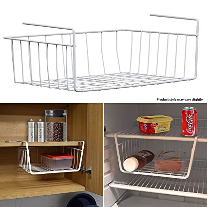 New Under Shelf Storage Rack White Metal Kitchen Lightweight Organiser  Basket Home Office Space Save Standard Shelf Hook  Amazon.co.uk  Kitchen    Home f68e07e0c2d7a