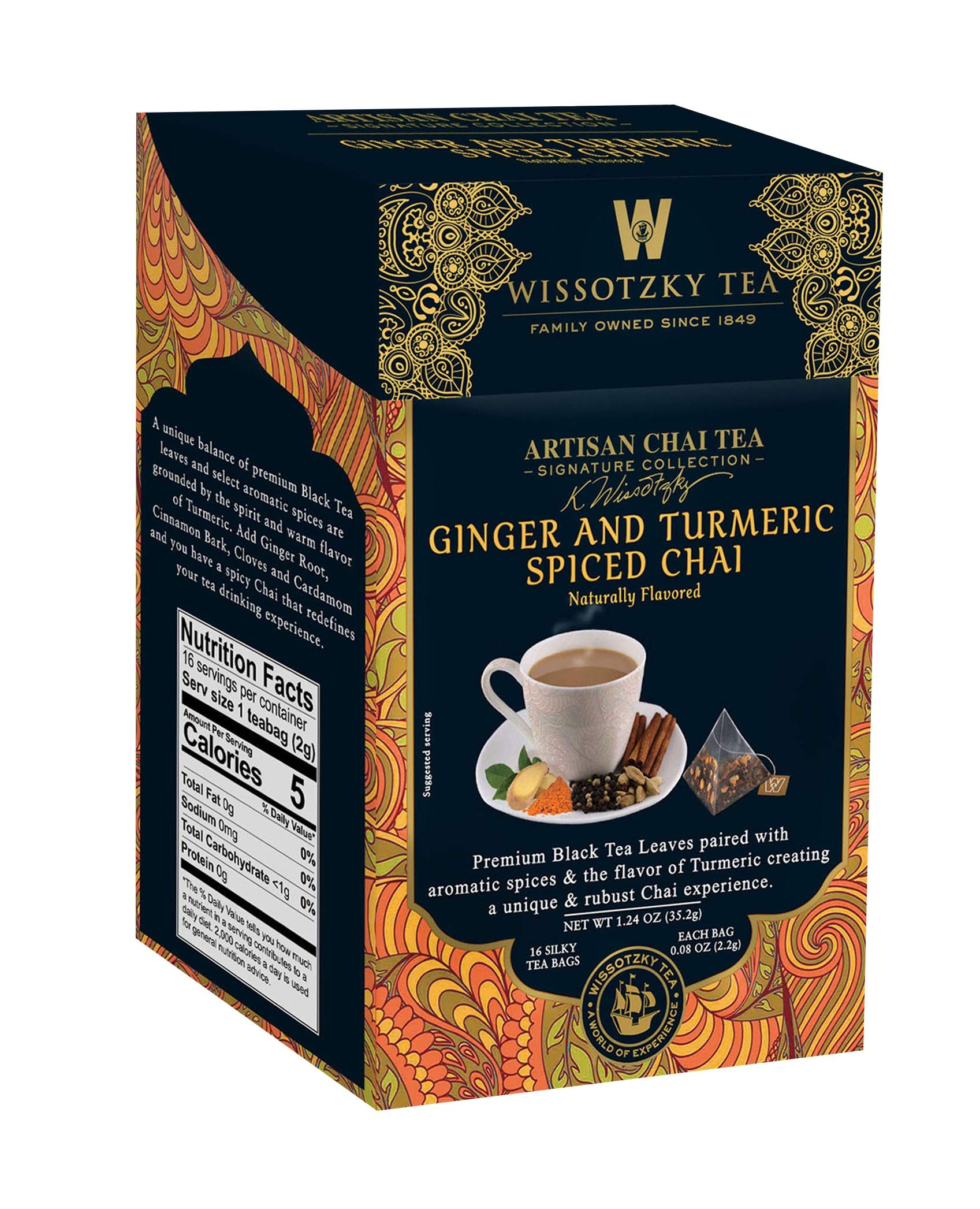 Wissotzky Tea Signature Collection, Artisan Chai Tea, Ginger & Turmeric Spiced Chai, 16Count, (Pack of 6)