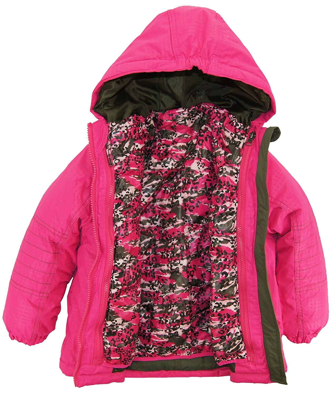 4f157eb0fb85 Rugged Bear Little Girls  Systems Winter Coat with Camo Cheetah ...