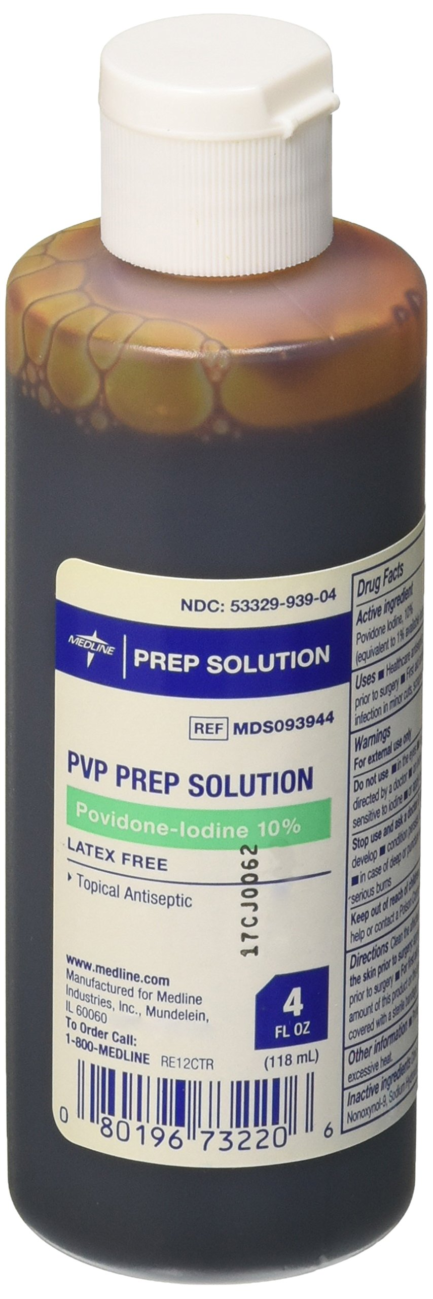 Medline MDS093944 Latex Free Povidone Iodine Prep Solution, 4 oz (Pack of 48)