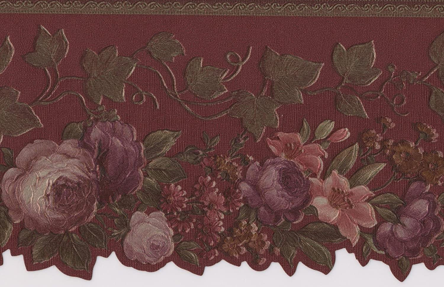 Pink Red Purple Blooming Roses Vintage Floral Wallpaper Border