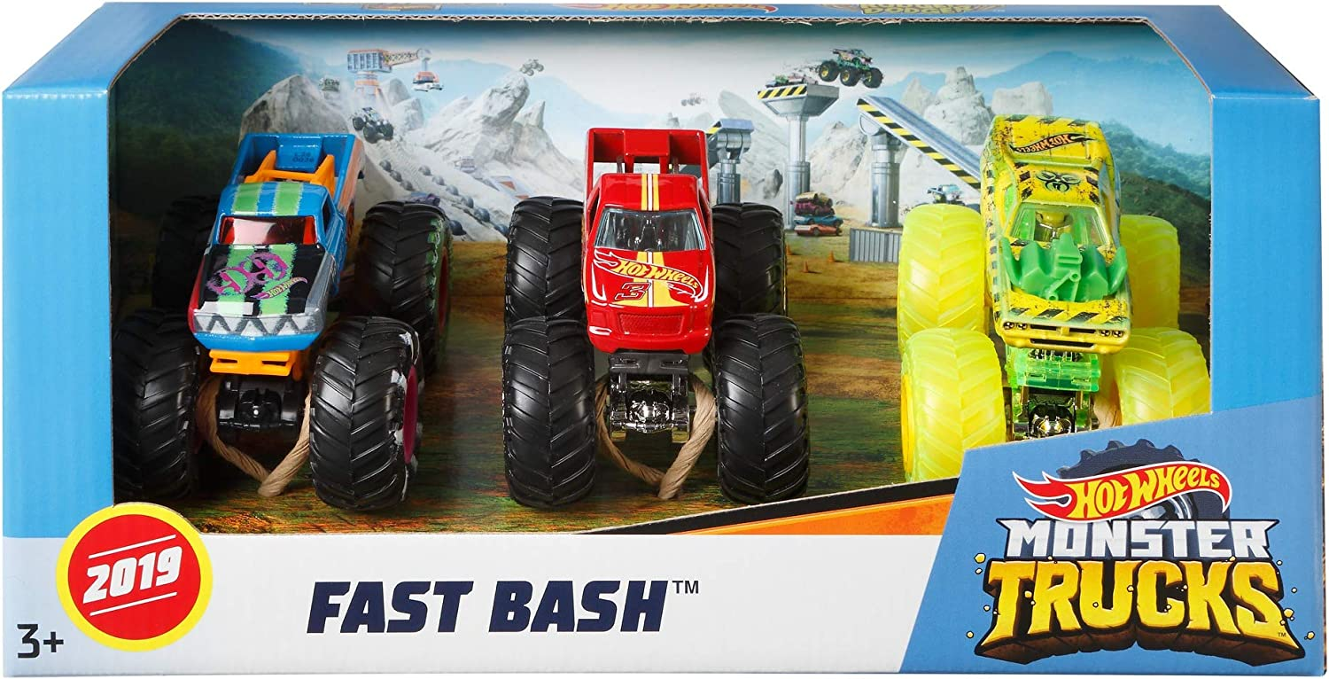 Hot Wheels GJY46 Monster Trucks Pack de 3 coches Dueling Doubles ...