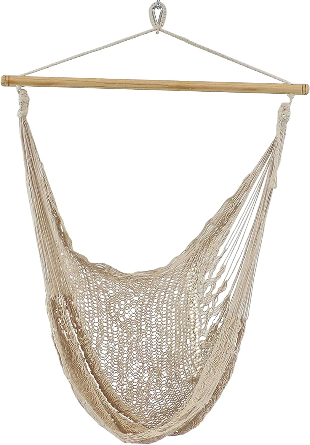 Sunnydaze Mayan Chair Hammock - Extra Large 30 Inch Wide x 50 Inch Deep Seat - Natural Colored