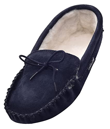 44c8af27ff5 Lambland Mens Sheepskin Suede Wool Lined Moccasin Slippers with Soft Suede  Sole in Navy Size UK