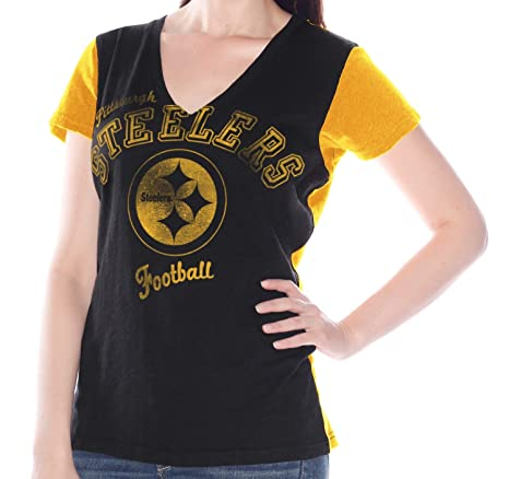 Amazon.com   Pittsburgh Steelers Womens Fair Catch V-Neck T-shirt X ... a1d19268c