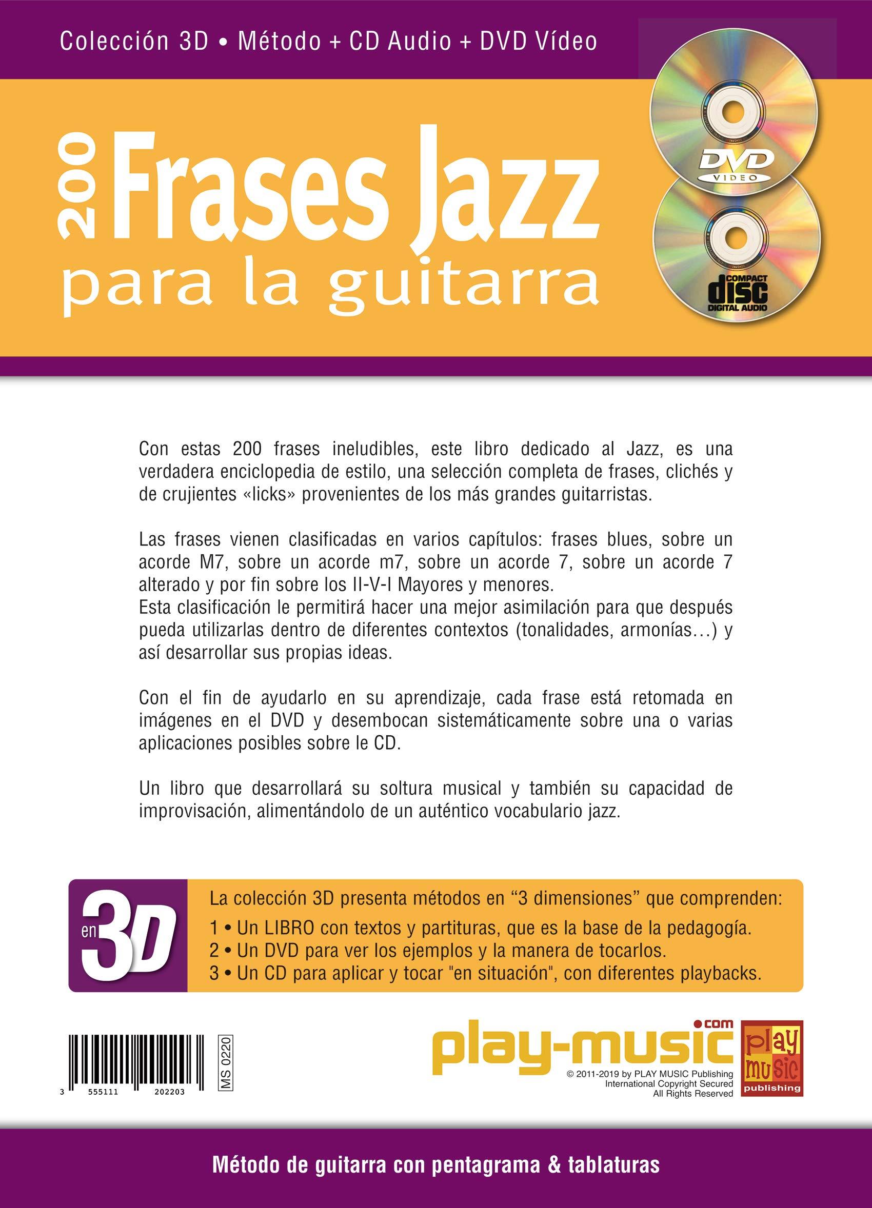 200 Frases Jazz Para La Guitarra En 3d 1 Libro 1 Cd 1