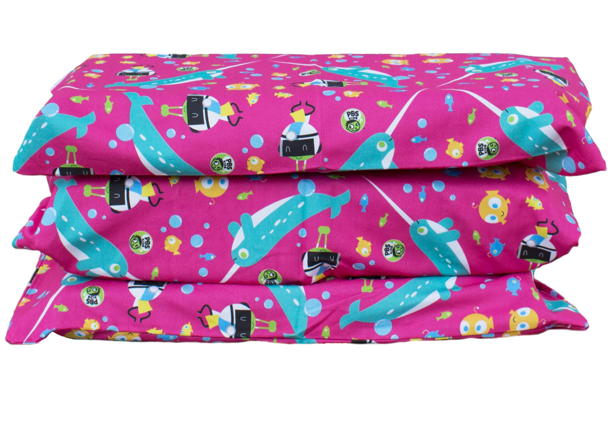 KinderMat PBS Kids Cover, Pillowcase Style Full Sheet, Fits Rest Mats Roughly 19 x 45 Inches, Narwhal Expedition, Pink