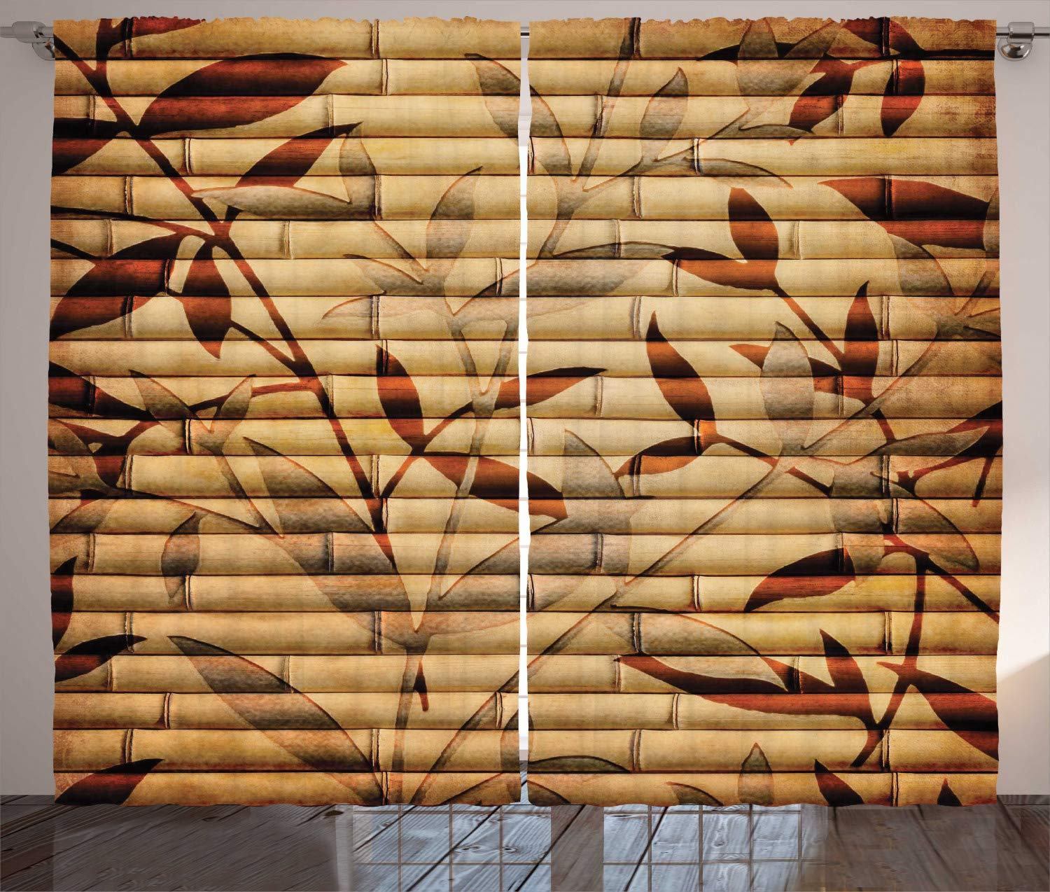 Ambesonne Beige Decor Curtains, Decorative Bamboo Stems and Leaf Figures Over It Spiritual Asian Elements Boho Print, Living Room Bedroom Decor, 2 Panel Set, 108 W X 84 L Inches, Brown Tan Beige