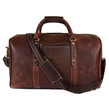 Leather Travel Duffle Bag | Gym Sports Bag Airplane Luggage Carry-On Bag By Aaron Leather (Dark Brown)