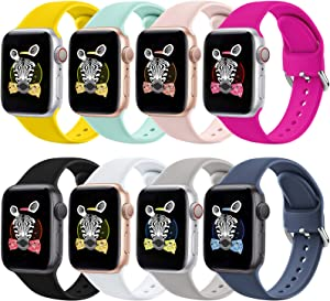 RATENLY Compatible with Apple Watch Bands 44mm 40mm 42mm 38mm, Sport Wristbands Replacement Strap with Apple Watch iWatch Series SE 6 5 4 3 2 1 for Women Men (42MM/44MM, Carlin)
