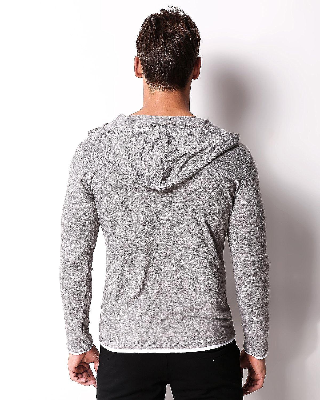 MODCHOK Mens Hooded Shirts Long Sleeve Hoodie V Neck Sweatshirt Slim Fit Tee Tops