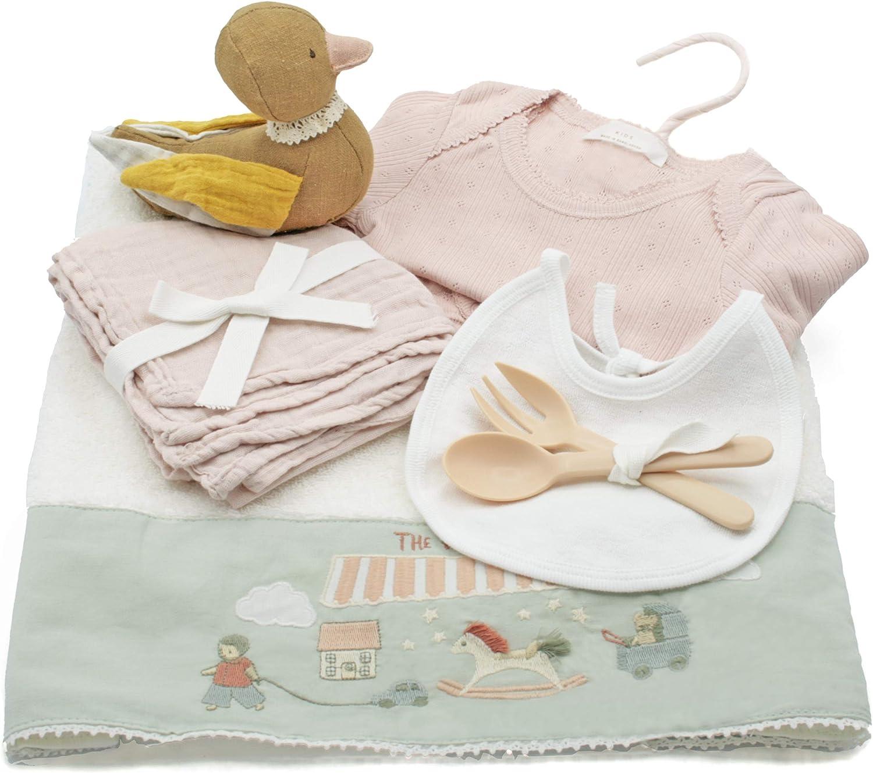 Regalos Bebes Recien Nacidos Originales - Canastilla bebe recien nacido de calidad y diseño en tonos coral y rosa palo. Cestas para bebes originales niña y niño. Recién nacidos de 0 a 6 meses.